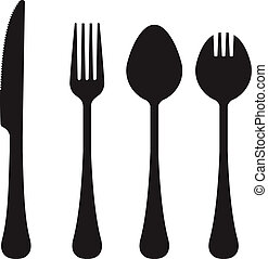 utensili, silhouette, vettore, mangiare