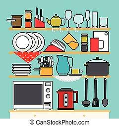 utensili, vettore, cucina
