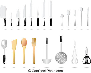 utensili, vettore, set, cucina