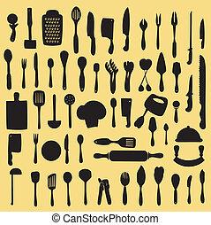 utensilio, cocina, conjunto