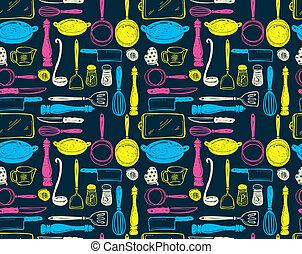 utensilio, cocina, seamlesss, patrón