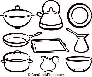 utensilio, conjunto, cocina