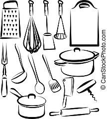 utensilio, conjunto, ilustración, cocina