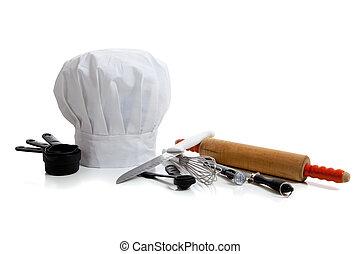 utensilios, chef\'s, hornada, sombrero