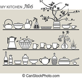 utensilios, cocina, #6, estantes