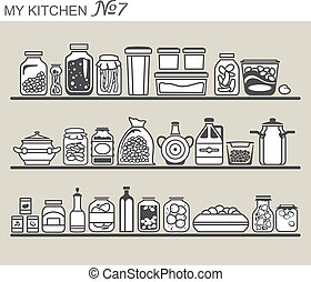utensilios, cocina, #7, estantes