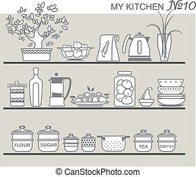 utensilios, cocina, 8, estantes
