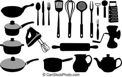 Utensilios Cocina Cuadrado Iconos Y Set 2d Vectores Eps