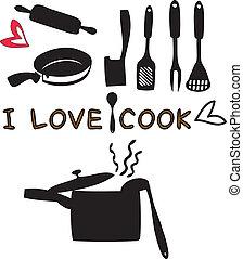 utensilios, cocina, herramientas, cocina