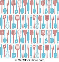utensilios, cocina, seamless, patrón