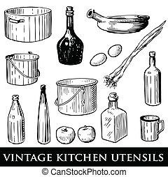utensilios, cocina, vendimia