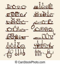 utensilios de la cocina, en, estantes, bosquejo, dibujo,...