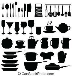 utensilios de la cocina, y, objetos