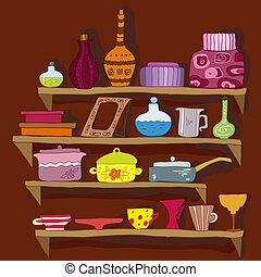 utensilios, dibujo, estantes