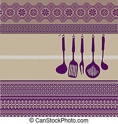 utensilios, estante, cocina