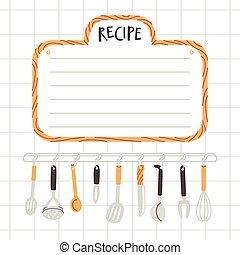 utensilios, receta, plantilla, cocina