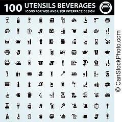 Utensils beverages icons set