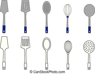 Utensils, coloring page. Vector illustration.