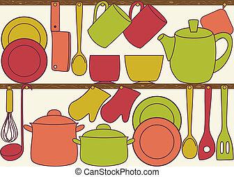 utensils køkken, på, hylder, -, seamless, mønster