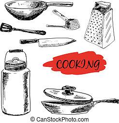 utensils, sätta, Kök