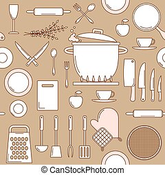 Utensils seamless pattern, vector line art with knifes, pot,...