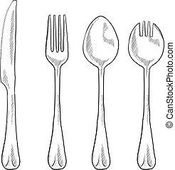 utensils, skiss, äta