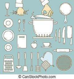 Utensils with cooks hands, line design illustration