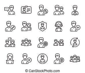 utenti, icons., profiles., femmina, linea, maschio