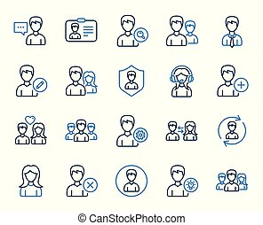 utenti, icons., vettore, profiles., femmina, linea, maschio