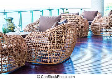 uteplats, stol, och, bord, med, sjögång se, bakgrund