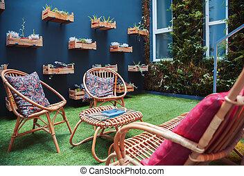 uteplats, trädgård, hem