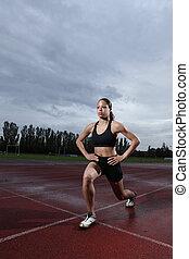 utfall, övning, för, quadriceps, av, atlet, spår
