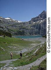 utforskande, vandrare, mountains
