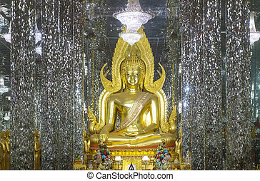 Golden Buddha statue at Cathedral glass at Wat Chantharam...