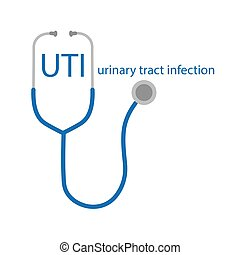 UTI Urinary Tract Infection text and stethoscope icon