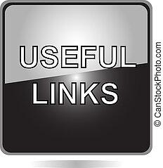 utile, bouton, noir, liens, toile
