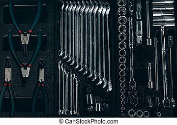 utile, ensemble, outils, mécanicien