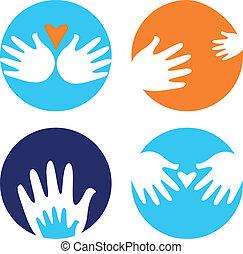 utile, icônes, isolé, porter, mains, blanc