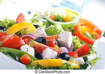 utile, salade, salad)., vitamine, nourriture., légume, frais, (greek