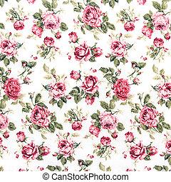 utile, tissu, coloré, fragment, rose, ornement, textile, arrière-plan., fond, retro, modèle, floral, tapisserie, rouges