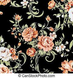 utile, tissu, coloré, fragment, rose, ornement, textile, fond, retro, modèle fond, floral, tapisserie