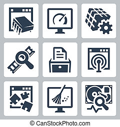 utilidade, software, vetorial, jogo, ícones