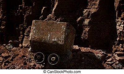 utilisé, abandonnés, charrette, mine, minerai, jonc, or, chariot, pendant