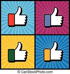 utilisé, art, aimer, &, média, symbole, -, haut, pop, main, vect, pouces, social