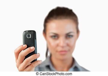 utilisé, cellphone, fin, image, prendre, haut, être