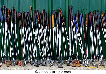 utilisé, golf, beaucoup, clubs, vieux, sport, rang