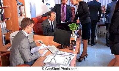 utilisé, groupe, professionnels, bureau., système, chariot