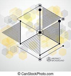 utilisé, jaune, être, géométrique, minimalistic, boîte, futuriste, gabarit, vecteur, 3d, composition, style., layout., résumé, moderne