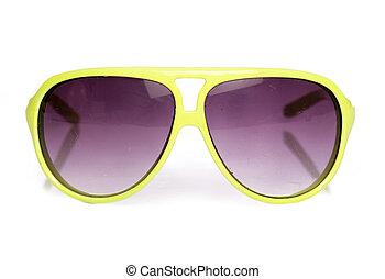 utilisé, lunettes soleil, retro, jaune