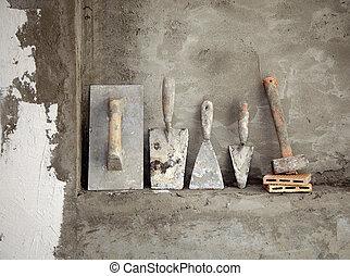 utilisé, mortier, ciment, construction, vieilli, outils